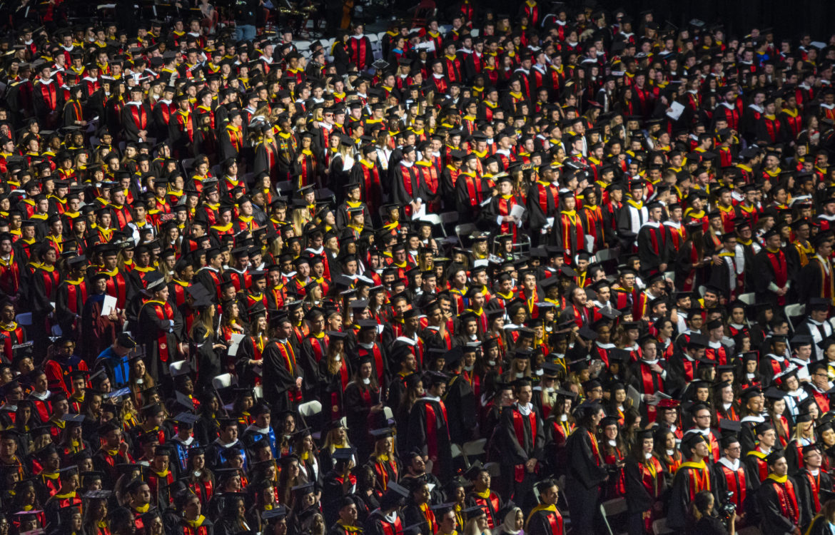 Aerial view of University of Maryland Commencement