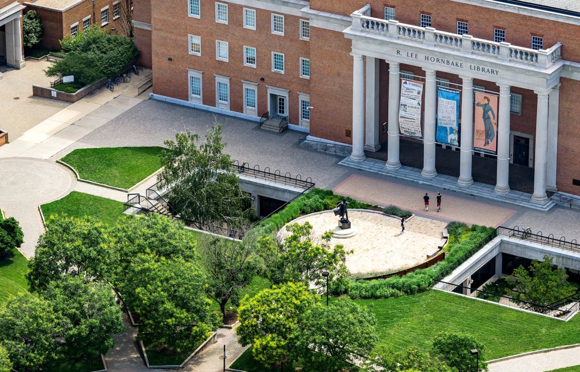 Aerial view of Hornbake Library OMSE University of Maryland